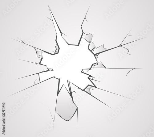 Photo Broken glass hole cracks transperent background vector illustration