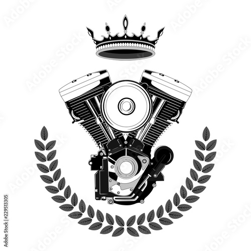 Motorcycle engine with a crown. Vector image on white background. Wallpaper Mural