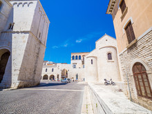 Bari, Italy - Jul 8, 2018: The Pontifical Basilica Di San Nicola (Basilica Of Saint Nicholas), A Church In Bari, Italy That Holds Wide Religious Significance Throughout Europe And The Christian World.
