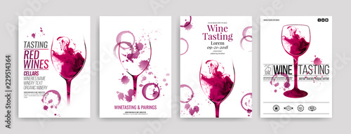 Obraz na płótnie Collection of templates with wine designs
