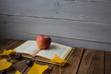 A Open Book Apple Yellow Leaves Chestnut On Wooden Background