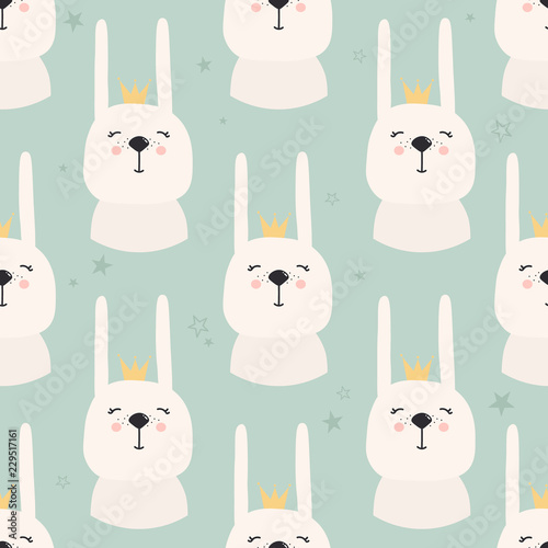 Rabbits with crowns, hand drawn backdrop. Colorful seamless pattern with muzzles of animals. Decorative cute wallpaper, good for printing. Overlapping colored background vector