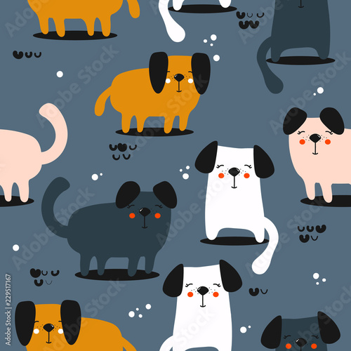 plakat Happy dogs, hand drawn backdrop. Colorful seamless pattern with animals. Decorative cute wallpaper, good for printing. Overlapping background vector. Design illustration