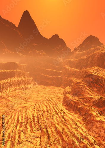 Obraz na plátně  3D Rendering Planet Mars Lanscape