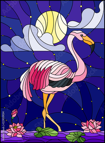 Fototapeta premium Illustration in stained glass style with Flamingo , Lotus flowers and reeds on a pond in the moon, starry sky and cloud