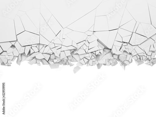 Fotografie, Obraz  Broken white wall, with copy space.