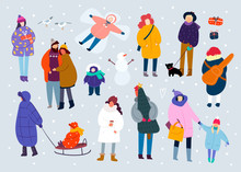 Winter Leisure. Various People. Hand Drawn Colored Vector Set. Grey Background. All Elements Are Isolated