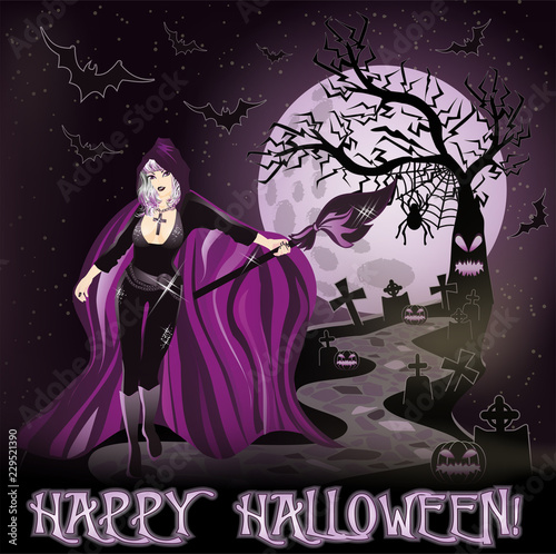 Photo  Happy Halloween  wallpaper with young sexy witch, vector illustration
