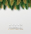 Christmas vector background. Xmas sale, holiday web banner. Design christmas decorations green and golden pine branches