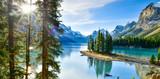 Fototapeta Natura - Panorama view Beautiful Spirit Island in Maligne Lake, Jasper National Park, Alberta, Canada