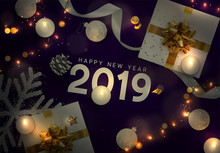 2019 Happy New Year. Christmas Vector Purple Background. Creative Design Greeting Card, Banner, Web Poster. Top View Of Gift Box, Xmas Decoration String Lights Garlands, Balls And Snowflakes.