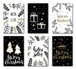Set of christmas greeting cards with hand written lettering and design elements