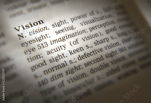 DICTIONARY PAGE SHOWING DEFINITION OF THE WORD VISION - Buy