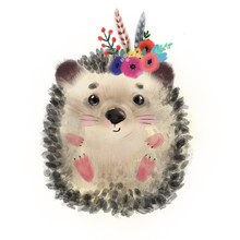 Cute Hedgehog With Flowers. Watercolor Illustration