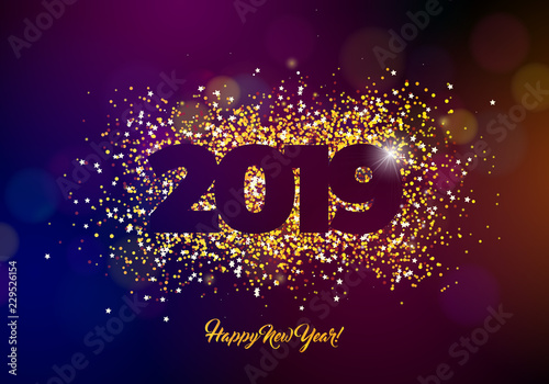 Fotografía  2019 Happy New Year illustration with shiny sparkling number on dark background