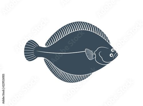 Fotografiet Flounder logo. Isolated flounder on white background