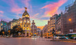 Leinwandbild Motiv Madrid city skyline gran via street twilight , Spain