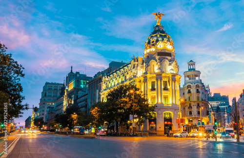 Foto op Aluminium Madrid Madrid city skyline gran via street twilight , Spain
