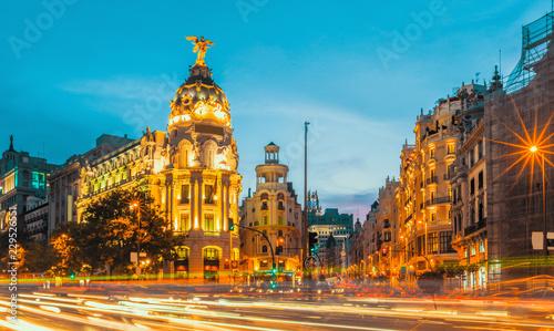 Poster Madrid Madrid city skyline gran via street twilight , Spain