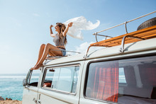 Beauty Woman Enjoy Blow Wind With Waving White Scarf