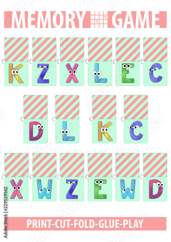 photograph relating to Printable Memory Cards identify Memory card match. Letters. Alphabet. Printable A4 vertical