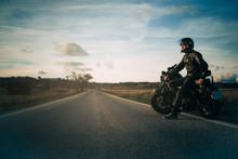Biker Sitting In A Motorcycle