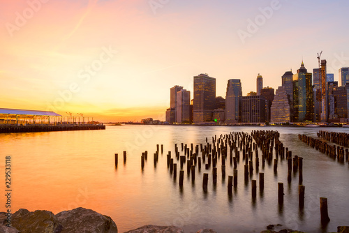 Sticker - View of the city of New York and the bay. New York.   Long light exposure.