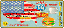 Grungy Route 66 Diner Tin Sign...