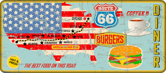 grungy route 66 diner tin sign w. road map, retro grungy vector illustration,...