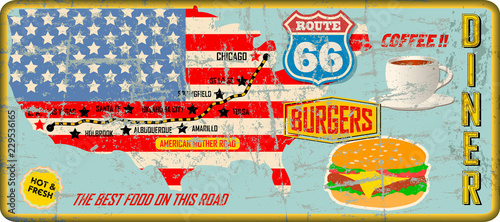 Photo grungy route 66 diner tin sign w