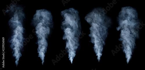 Türaufkleber Rauch Fog or smoke set isolated on black background. White cloudiness, mist or smog background.
