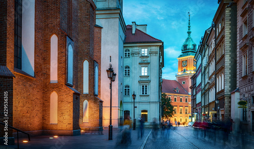 Royal Castle, ancient townhouses in old town in Warsaw, Poland. Night view, long exposure.