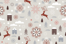 Seamless Christmas And New Year Pattern