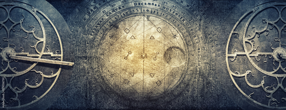 Fototapeta Ancient astronomical instruments on vintage paper background. Abstract old conceptual background on history, mysticism, astrology, science, etc.