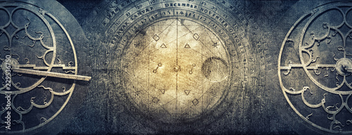 Photo Stands Retro Ancient astronomical instruments on vintage paper background. Abstract old conceptual background on history, mysticism, astrology, science, etc.