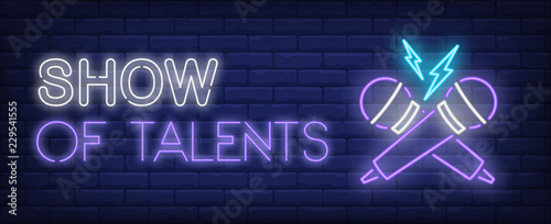 Cuadros en Lienzo Show of talents neon text with crossed microphones
