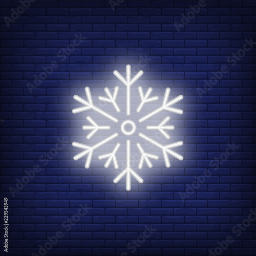 White snowflake neon sign  Luminous signboard with ice crystal