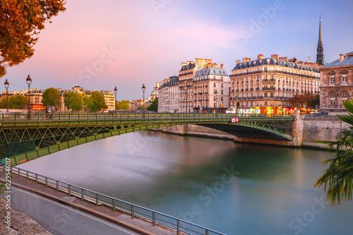 Beautiful view of Ile de la Cite and Pont d'Arcole at sunset in Paris, France Wallpaper Mural