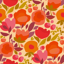 Red And Pink Decorative Flowers In Retro Style.