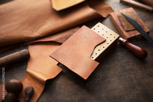 Leather craft or leather working Wallpaper Mural