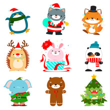 Set Of Cute Christmas Animal C...