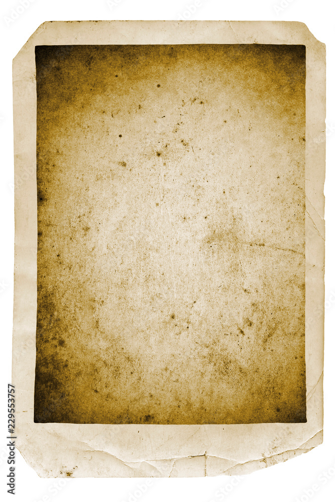 Fototapety, obrazy: Vintage blank old black and white photo isolated on white background
