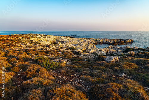 Spoed Foto op Canvas Grijze traf. mediterranean landscape with rough rocks and ocean