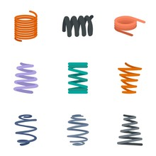 Coil Cable Icon Set. Flat Set Of 9 Coil Cable Vector Icons For Web Design