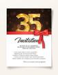 Wedding Invitation card template to the day of the thirty-five anniversary with abstract text vector illustration. Invite to 35 th years eve jubilee