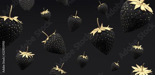 black and gold Strawberry on black background 3d render 3d illustration - 229559110