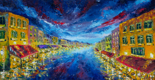 Poster Channel Grand Canal in Venice, Italy at night, art, panoramic scene view - Impressionism oil painting, contemporary style on stretched canvas, palette knife
