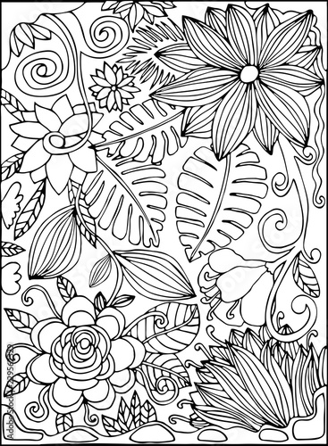 Black And White Thin Line Hand Drawn Postcard With Tropic Flowers Jungle Palm Leaves Tropical Garden Coloring Book Page Vector Illustration Buy This Stock Vector And Explore Similar Vectors At Adobe 40 high quality collection of tropical leaves clipart by clipartmag. black and white thin line hand drawn