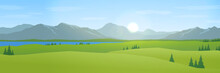 Mountains And Hills Landscape Flat Design Panorama