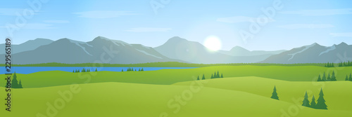 Poster Blauwe hemel mountains and hills landscape flat design panorama